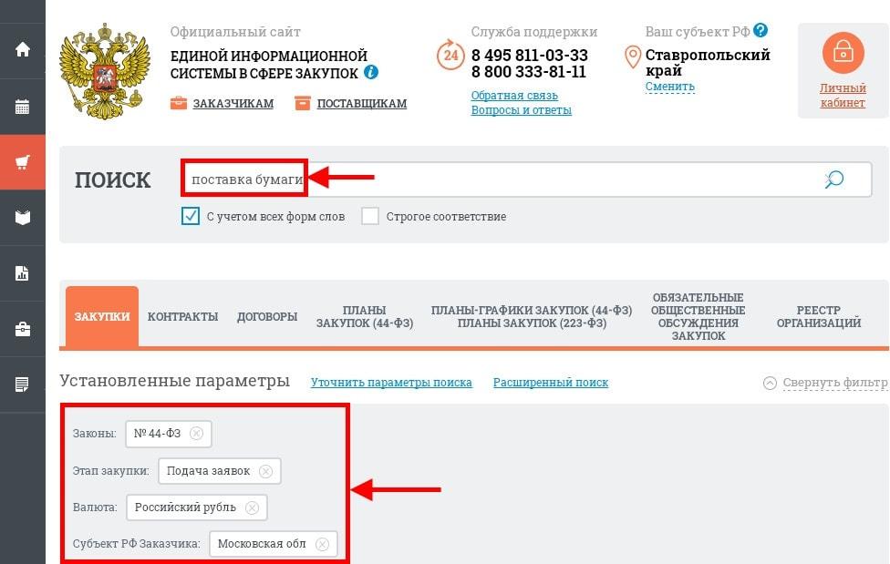 настройка поисковых параметров на сайте ЕИС